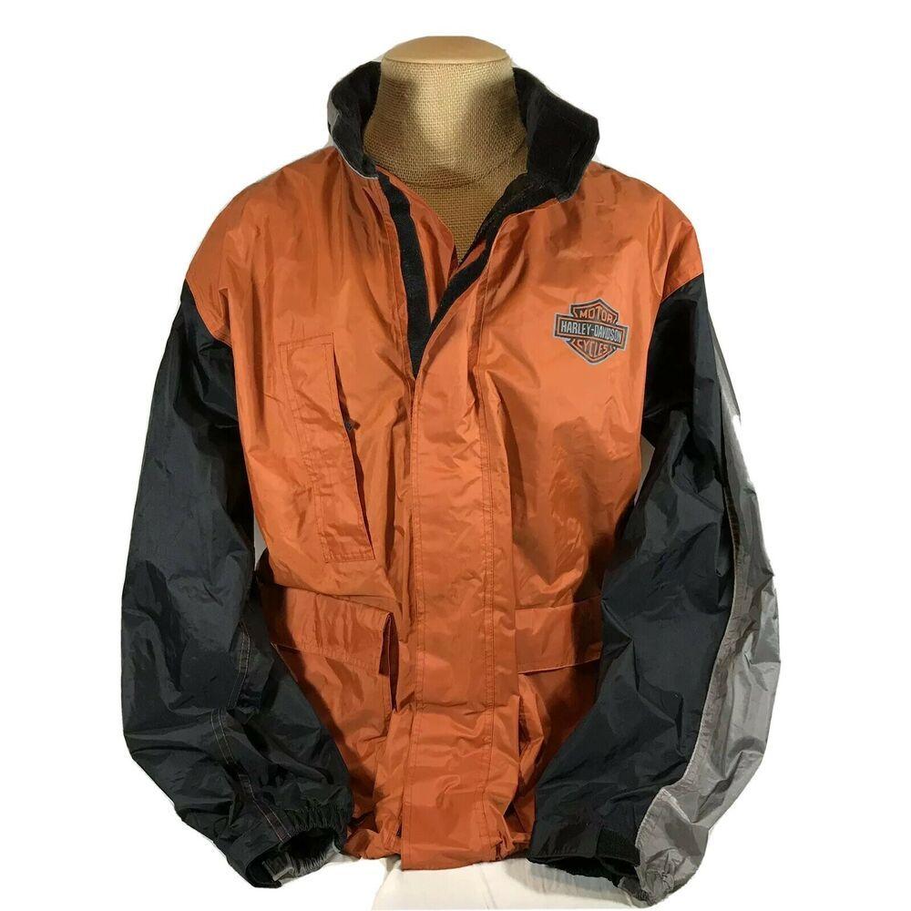 Harley Davidson Rain Jacket Motorcycle Riding Weather Coat Hood Full Zip Large Harleydavidson Motorcyclejacket With Images Rain Jacket Jackets Jackets Men Fashion