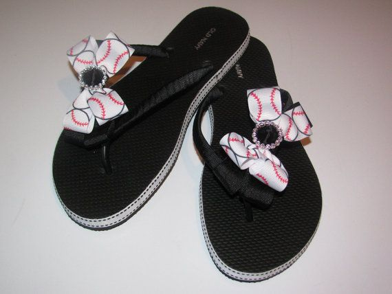 406add9eceb7 Baseball Flip Flops Bow Softball Mom Girl Boutique Sports Ribbon Flip Flops  choose your ribbon and team colors
