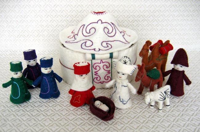 This Nativity Is Handcrafted From Wool Felt By Aigul In Bishkek Kyrgyzstan The Traditional Figures Are Joined By A D Nativity Handcraft Humanitarian Projects