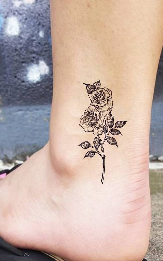 Small Black Flower Tattoos: Small Vintage Roses Ankle Tattoo Ideas For Women