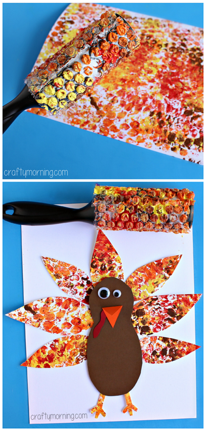 Bubble Wrap Printed Turkey Art Project #Thanksgiving craft for kids   CraftyMorning.com