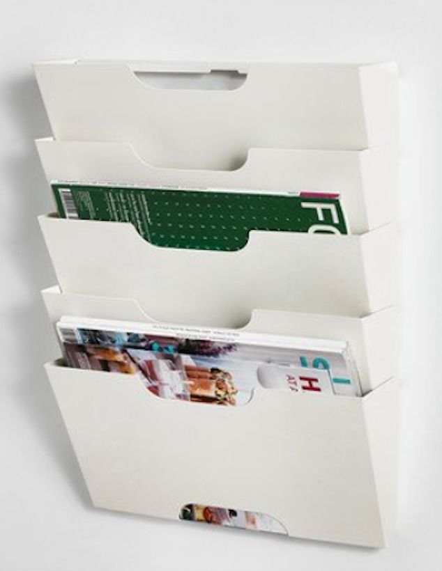 New Kvissle 5 Shelf Wall Magazine File Mail Book Rack White Ikea
