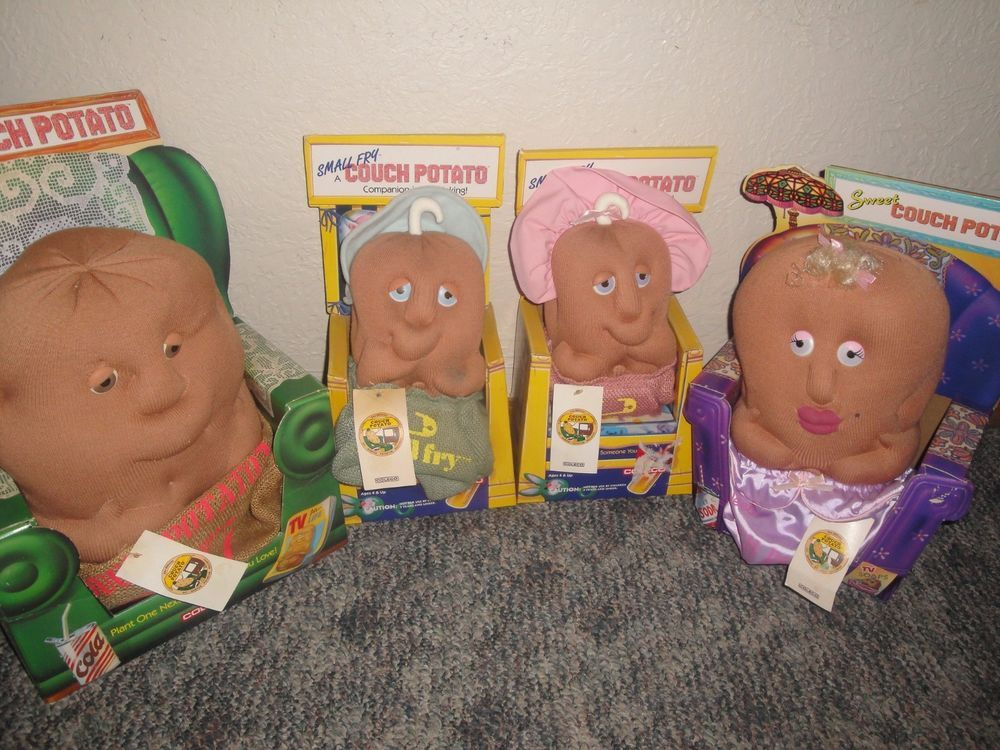 COLECO COUCH POTATO doll family Set of 4 vintage 1987 SWEET SMALL FRY BURLAP #Coleco