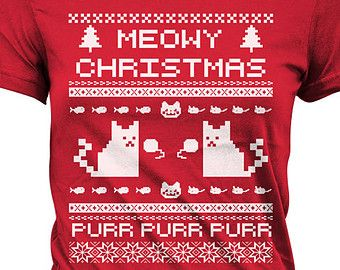 Meowy Christmas T Shirt Ugly Christmas Sweater Shirt Kitty T-Shirt ...