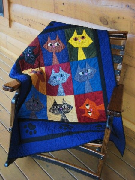 cat quilt! -- click through for more hand-crafted cat quilts