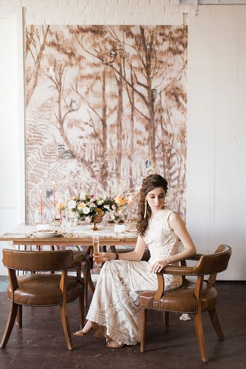 Gorgeous Feminine And Forest Inspired Styled Shoot By Glint Events Shot At  The Paisley And Jade