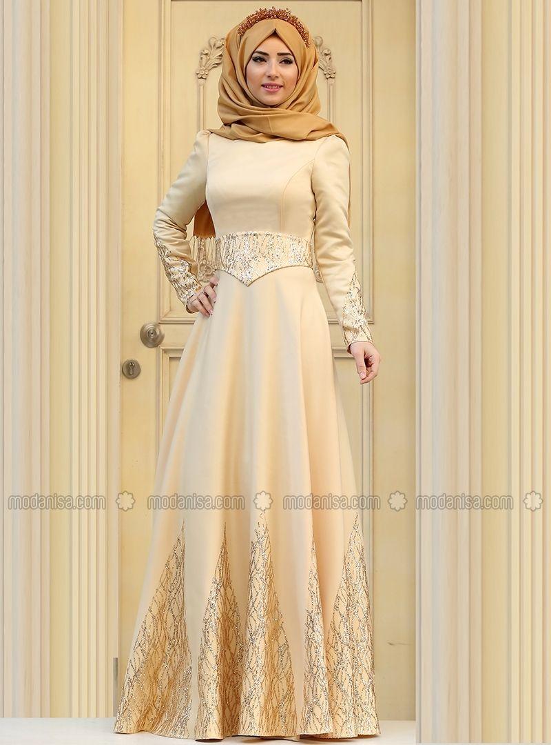 Linda evening dress gold zehrace hijab fashion pinterest