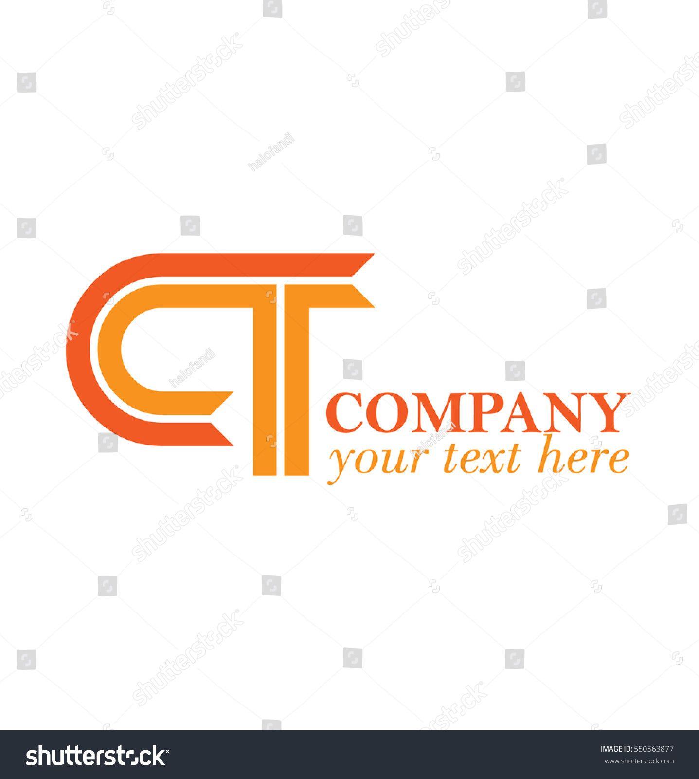 Initial Letters CT Linked Linear Design Logo Orange