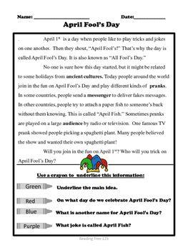 April Fool's Day Reading Passage Grades 2-3 | Comprehension ...
