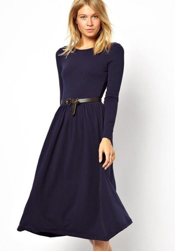 f4ead5aebf Blue Plain Pleated Below Knee Cotton Blend Dress | Sister Missionary ...