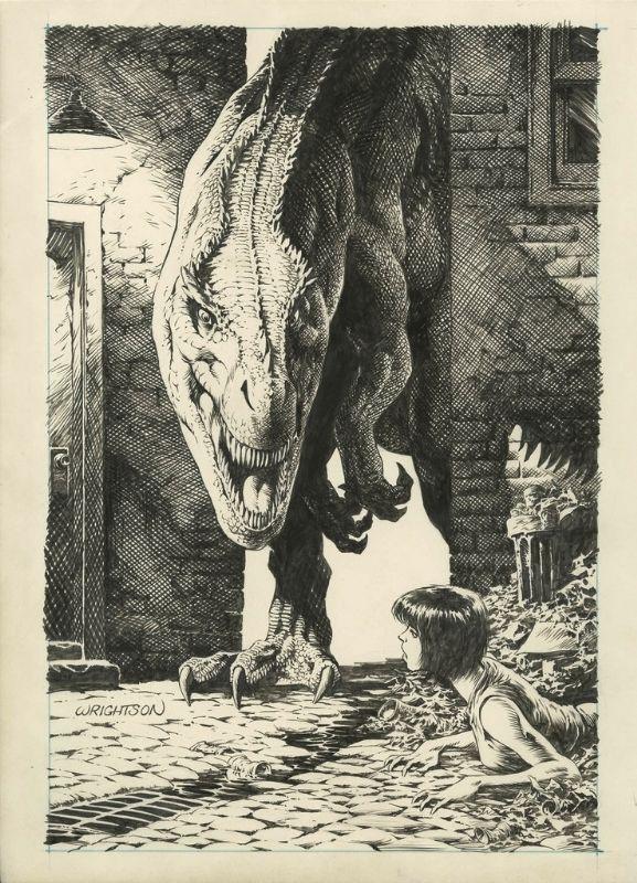 Jurassic Park #4 cover by Bernie Wrightson