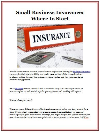 Small Business Insurance: Where to Start New business ...