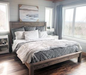 Modern Farmhouse Bed Frame | Ana White #modernfarmhousebedroom