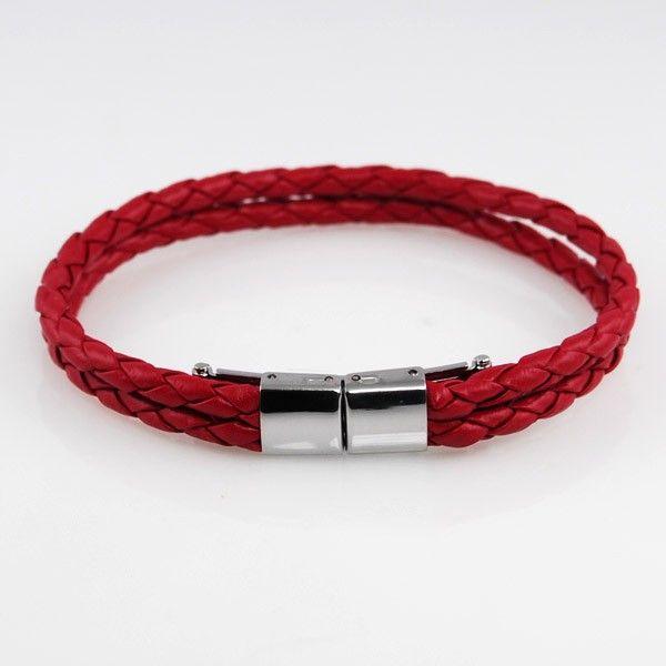 Stilrent Rødt Flettet Læderarmbånd