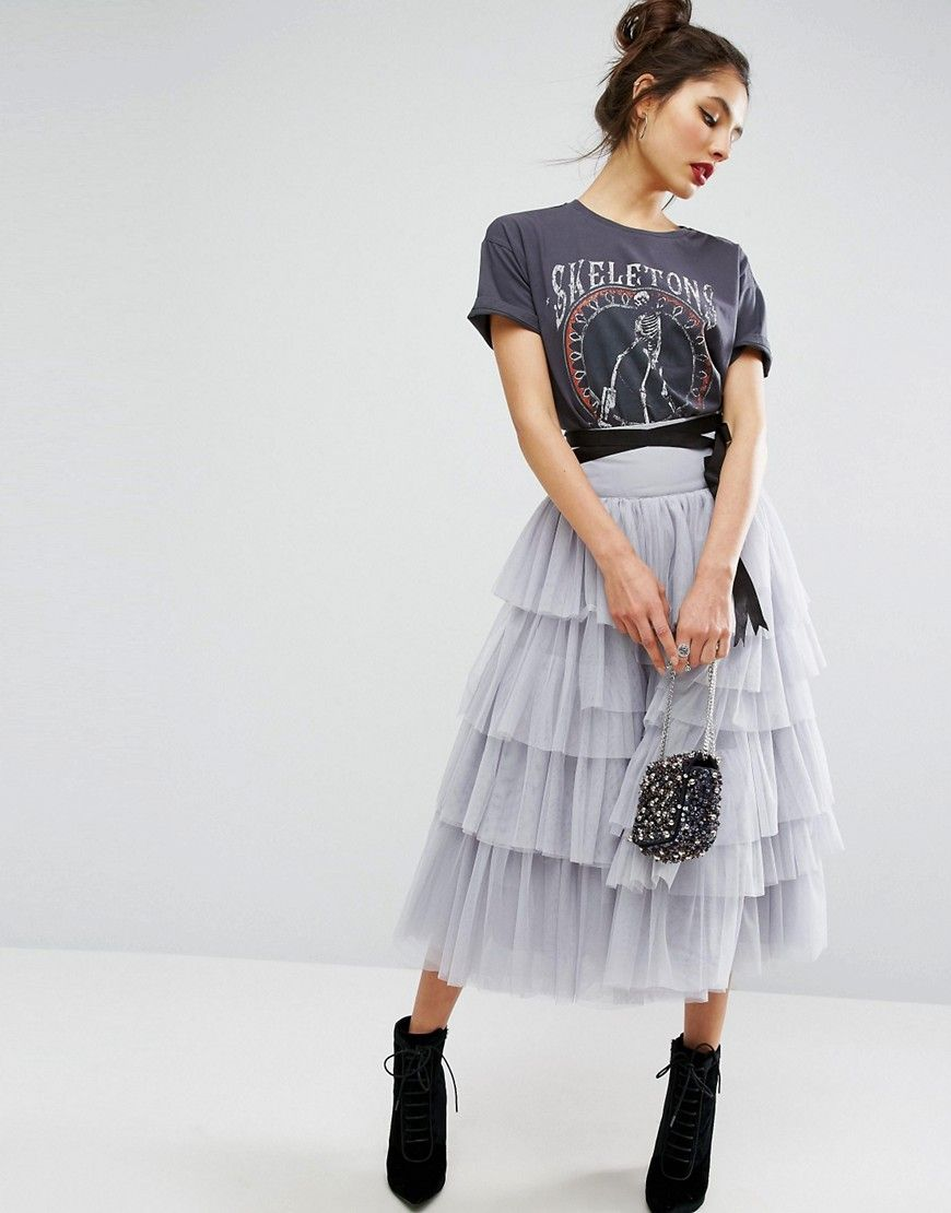c653bffe3 SHOP | ASOS Tulle Midi Skirt | t h e l o o k in 2019 | Fashion, Grey ...