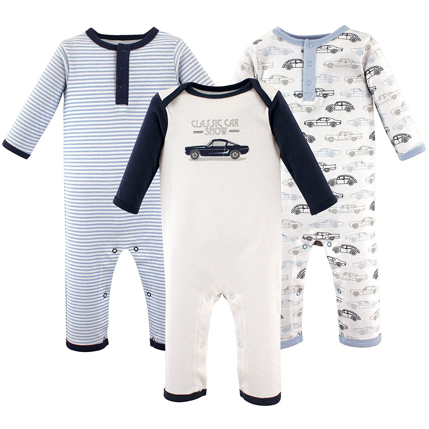 Hudson Baby Baby Cotton Union Suit 3 Pack Antique Cars 0 3 Months
