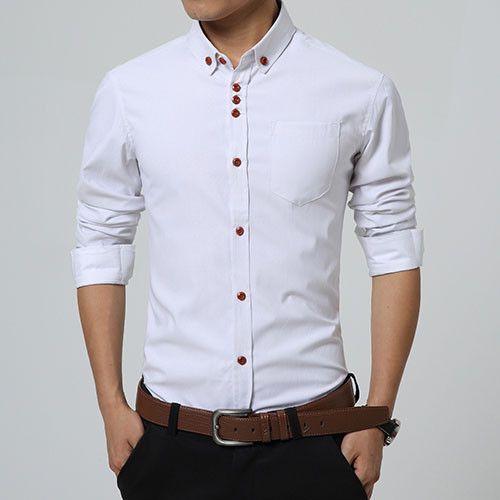 18c97eaceaf 2016 New Fashion Casual Men Shirt Long Sleeve Trend Slim Fit Men Solid  Color High Quality Mens Dress Shirts Men Clothes 5XL