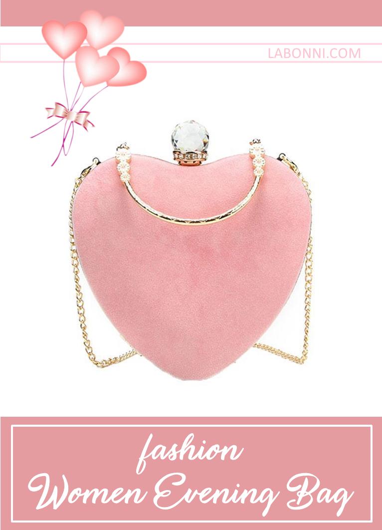 Fashion Women Party Wedding Purse Bags Heart Evening Bag Clutch Bag Handbag