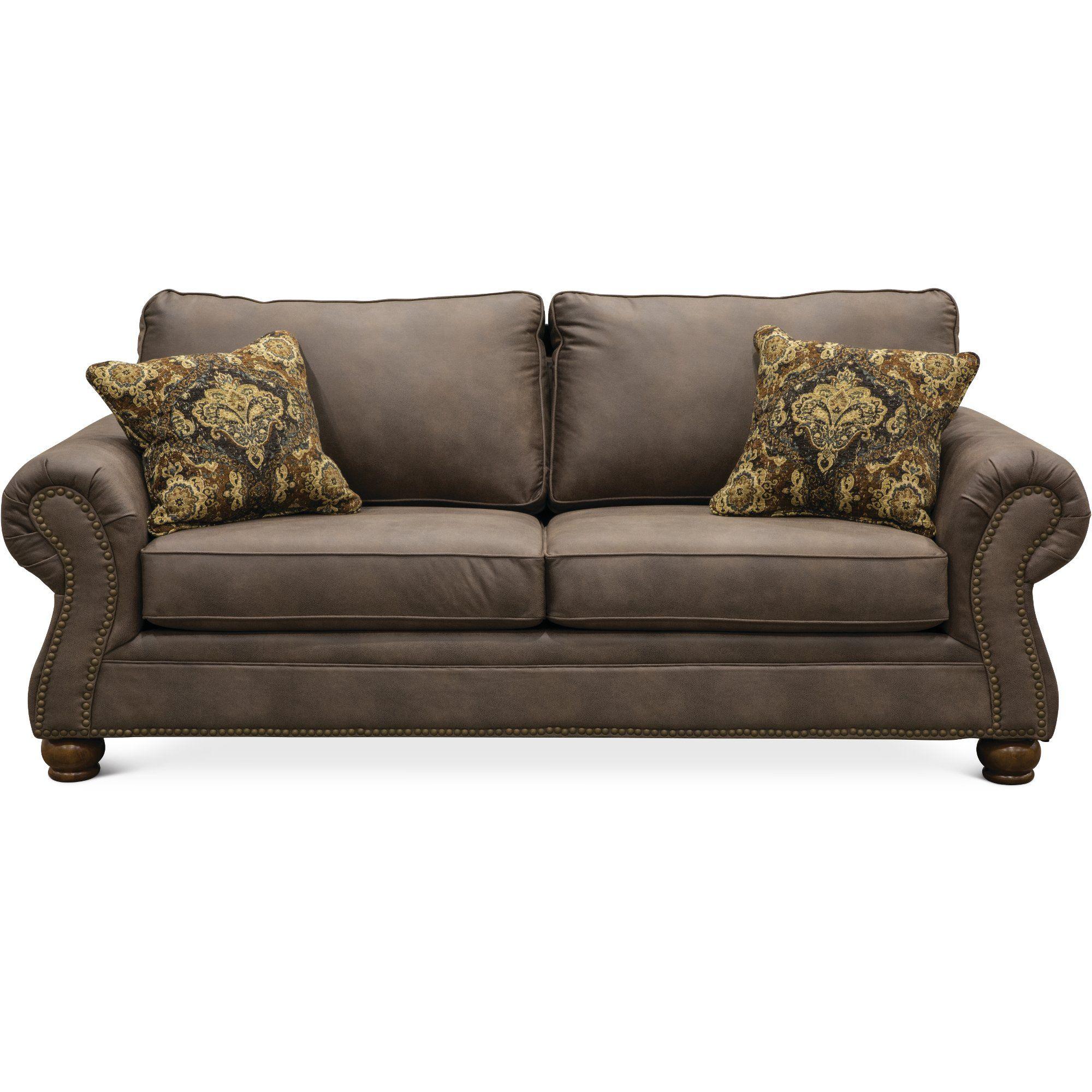 Casual Traditional Oak Brown Sofa Tahoe Luxury Furniture
