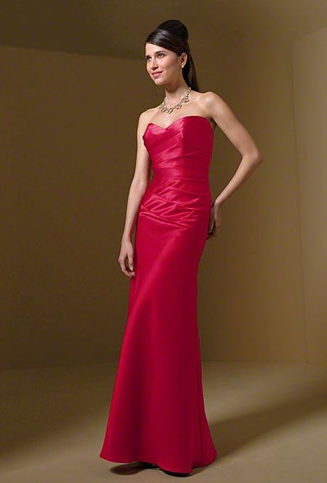 Alfred Angelo - Style 7041 Strapless Red Taffeta Sheath Bridesmaid ...