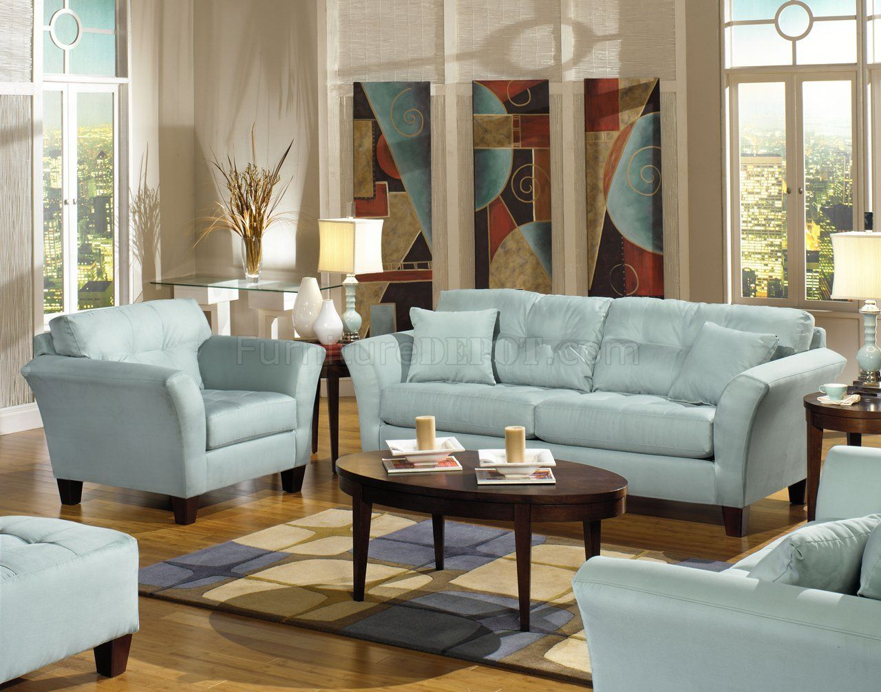 Light Blue Leather Sofa Set For Elegant Living Room Interior