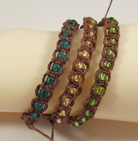 Brown Hemp Bracelets With Gl Seed Beads In Blue Green Or Yellow