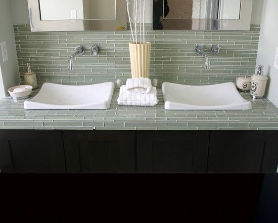 Tile Countertop Bathroom Design Pictures Remodel Decor And