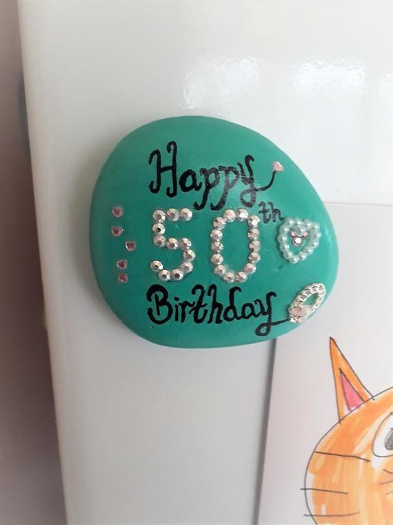 50th Birthday Pebble Fridge Magnet Gift For Her