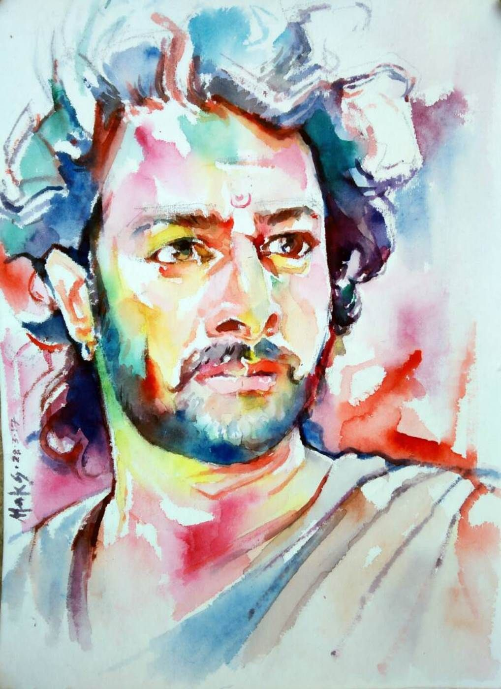 A Colorful Watercolor Portrait Of An Indian Actor Prabhas In His