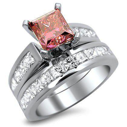 2.90ct pink princess cut diamond engagement ring bridal set 14k white gold - See more at: http://jewelry.florentt.com/jewelry/wedding-anniversary/engagement-rings/290ct-pink-princess-cut-diamond-engagement-ring-bridal-set-14k-white-gold-com/#sthash.qodDlS5k.dpuf