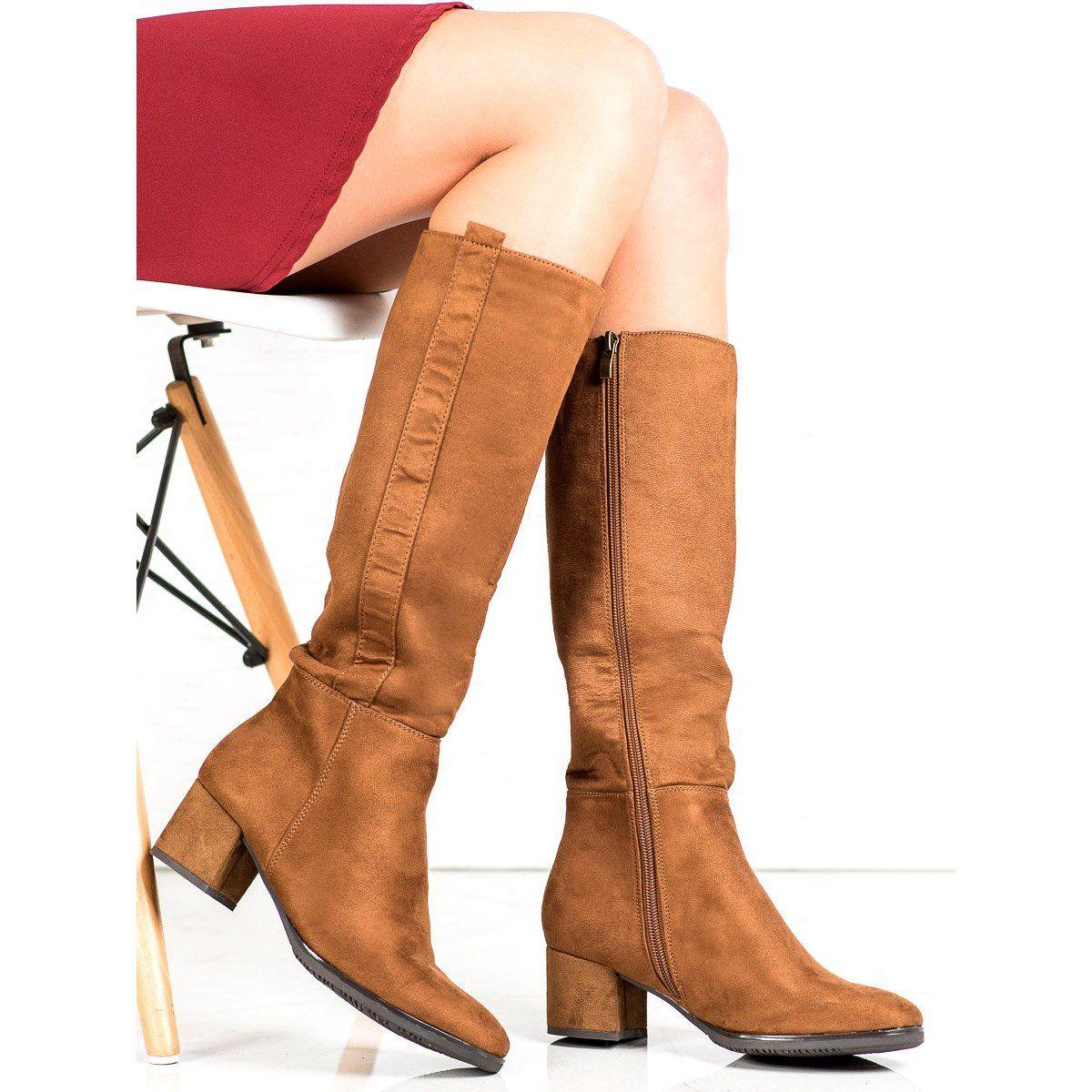 Filippo Klasyczne Brazowe Kozaczki Boots Womens Knee Boots Brown Boots