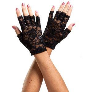 Gothic burlesque fishnet Fingerless white Mesh Lace net stretch String Gloves