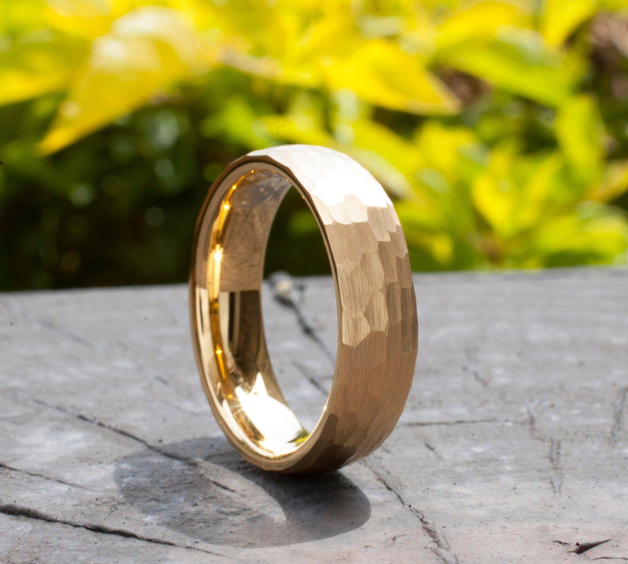 Hammered Gold Tungsten Ring Men Women Wedding Band 6MM