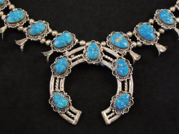 218g Vintage Zuni Carved Fetish Sterling Silver Squash Blossom Necklace w Intensely Blue Bisbee Turquoise FROGS! Totally Mind-boggling!
