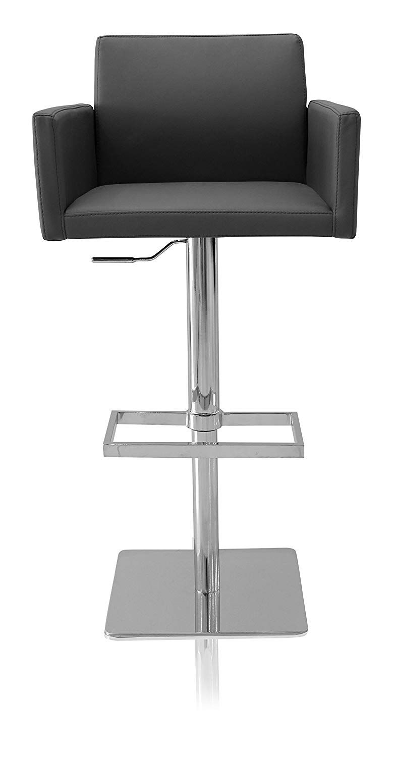 Urbanmod Elliott Modern Adjustable Height Swivel Bar Stool Gray