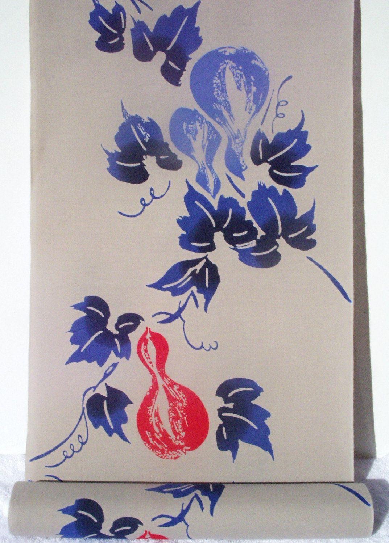 Cotton japanese kimono yukata fabric blue red on taupe