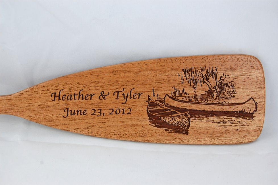 Mahogany engraved wedding gift #paddle #canoe #kayak #gift #outdoors #wood