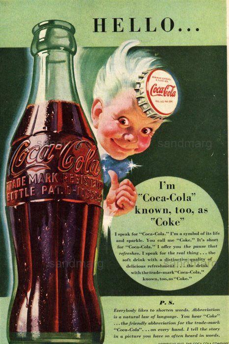 491b93f7404 1942 Coca Cola Ad Sprite Boy | Coca Cola | Coca cola poster, Coca ...