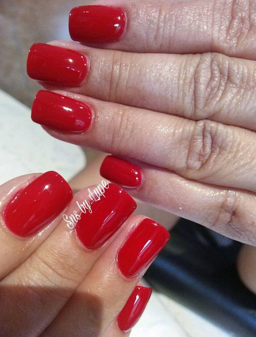 red sns nails dipping powder