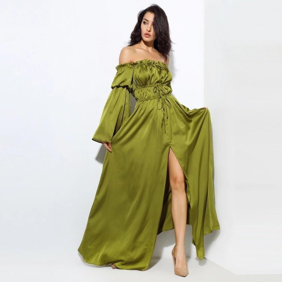 Santorini satin maxi dress maxi dress with sleeves