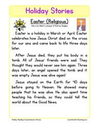 holiday stories comprehension easter religious homeschool l a s studies reading. Black Bedroom Furniture Sets. Home Design Ideas
