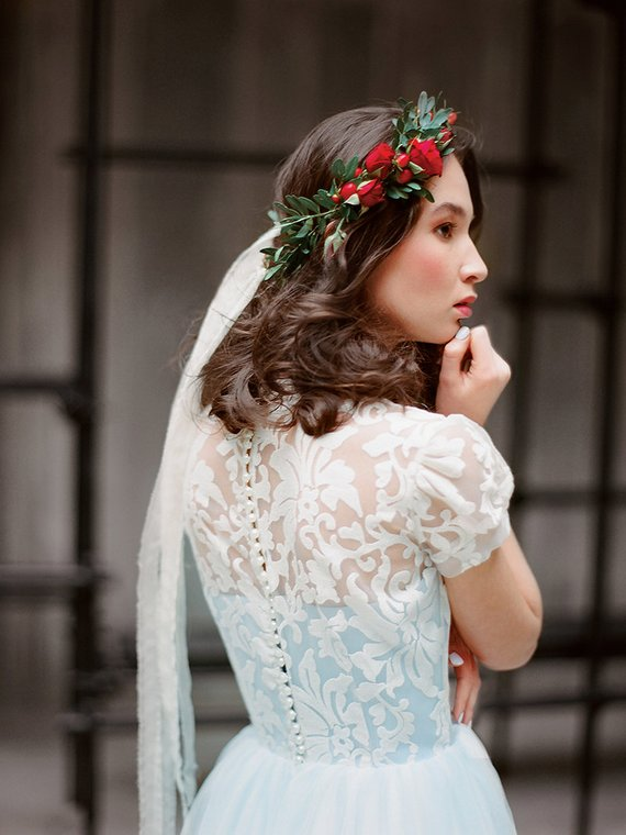 Sample Sale Us2 Blue Wedding Dress With Short Sleeves Ilaria