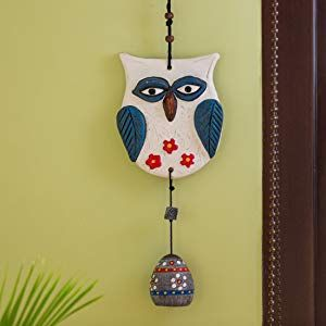 ExclusiveLane Owl Handmade and Hand-Painted Garden Decorative Wall Hanging Bell in Terracotta – Balcony Decoration Hanging Decorative Items for Living Room Wall Décor Terracotta Decorative for Home