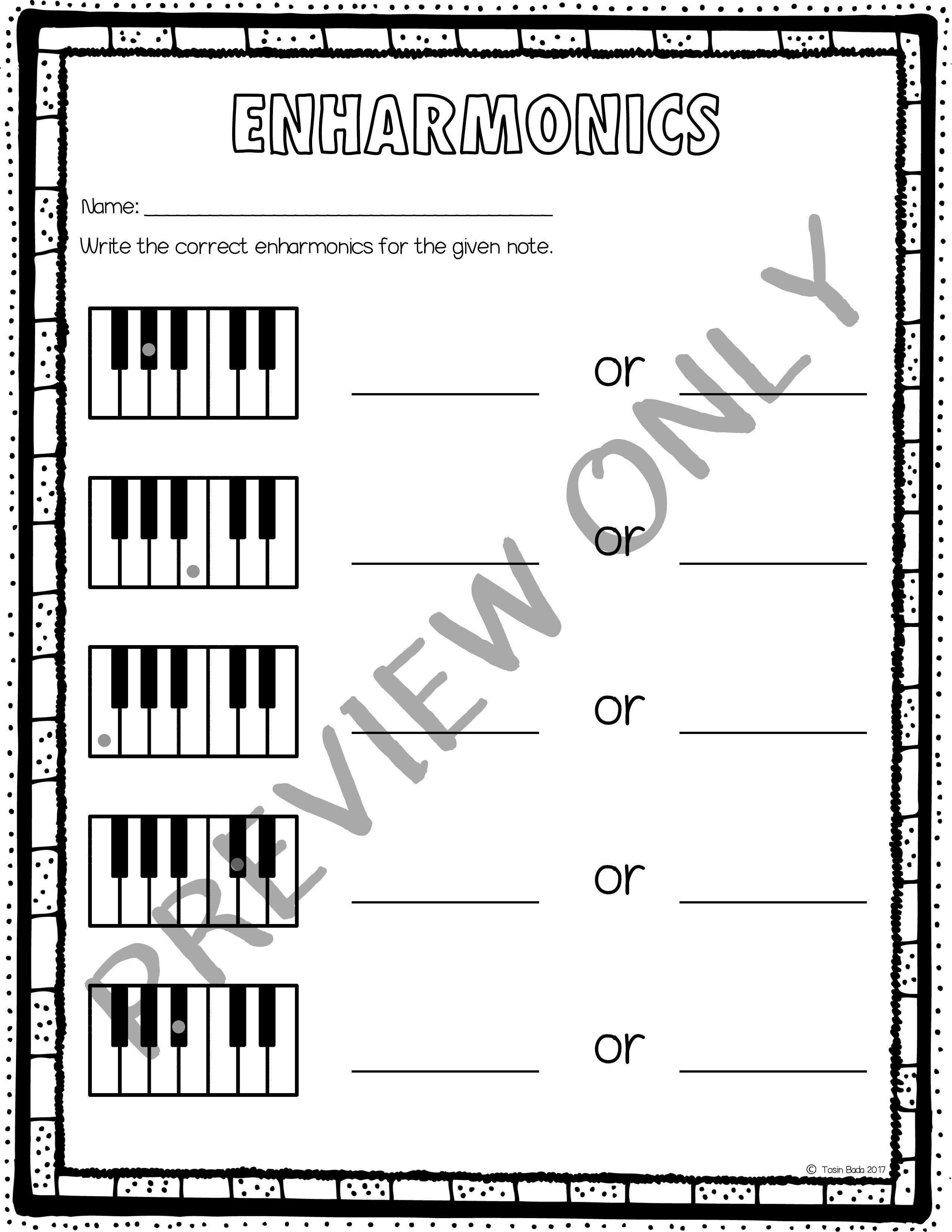 Enharmonic Worksheets Music Education Worksheets Music Classroom