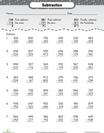 Extra Practice: Three-digit Subtraction | Rechen und Bildung