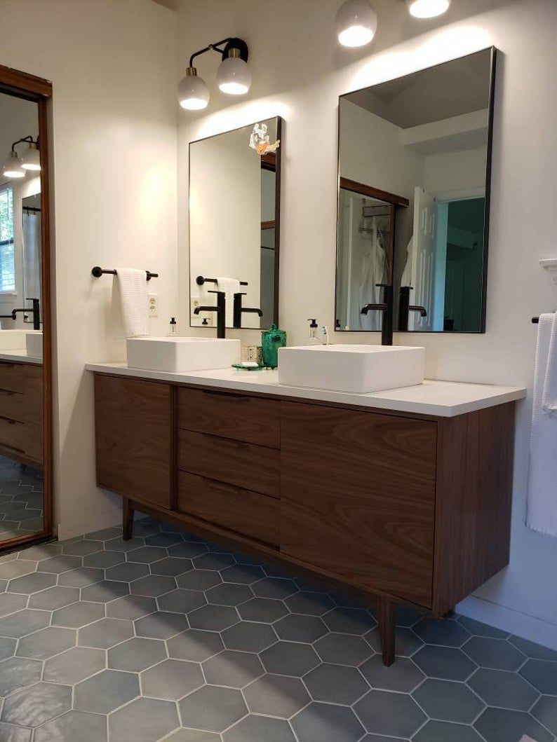 hand built mid century style 6 bathroom vanity cabinet in on vanity for bathroom id=15547