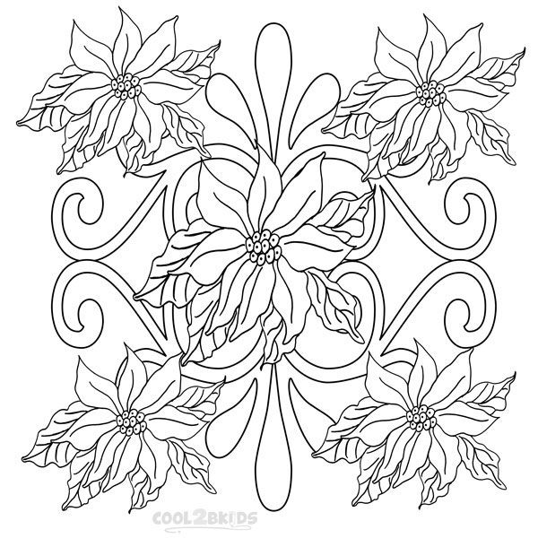 Photos of Poinsettia Coloring Pages Printable   coloring   Pinterest ...