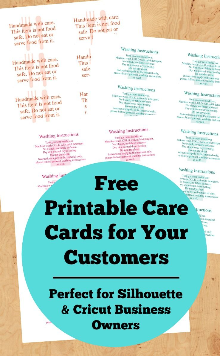 Free printable care cards for your silhouette or cricut business not food safe htv washing instructions and not dishwasher safe for your silhouette
