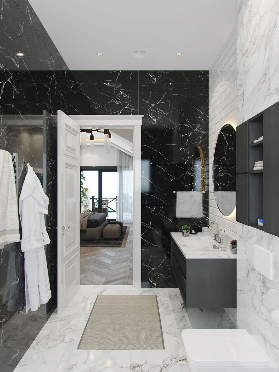 Gorgeous Black Marble Bathroom To Add A Little Luxury In Your Quality Time Black Marble Bathroom White Marble Bathrooms Bathroom Interior Design