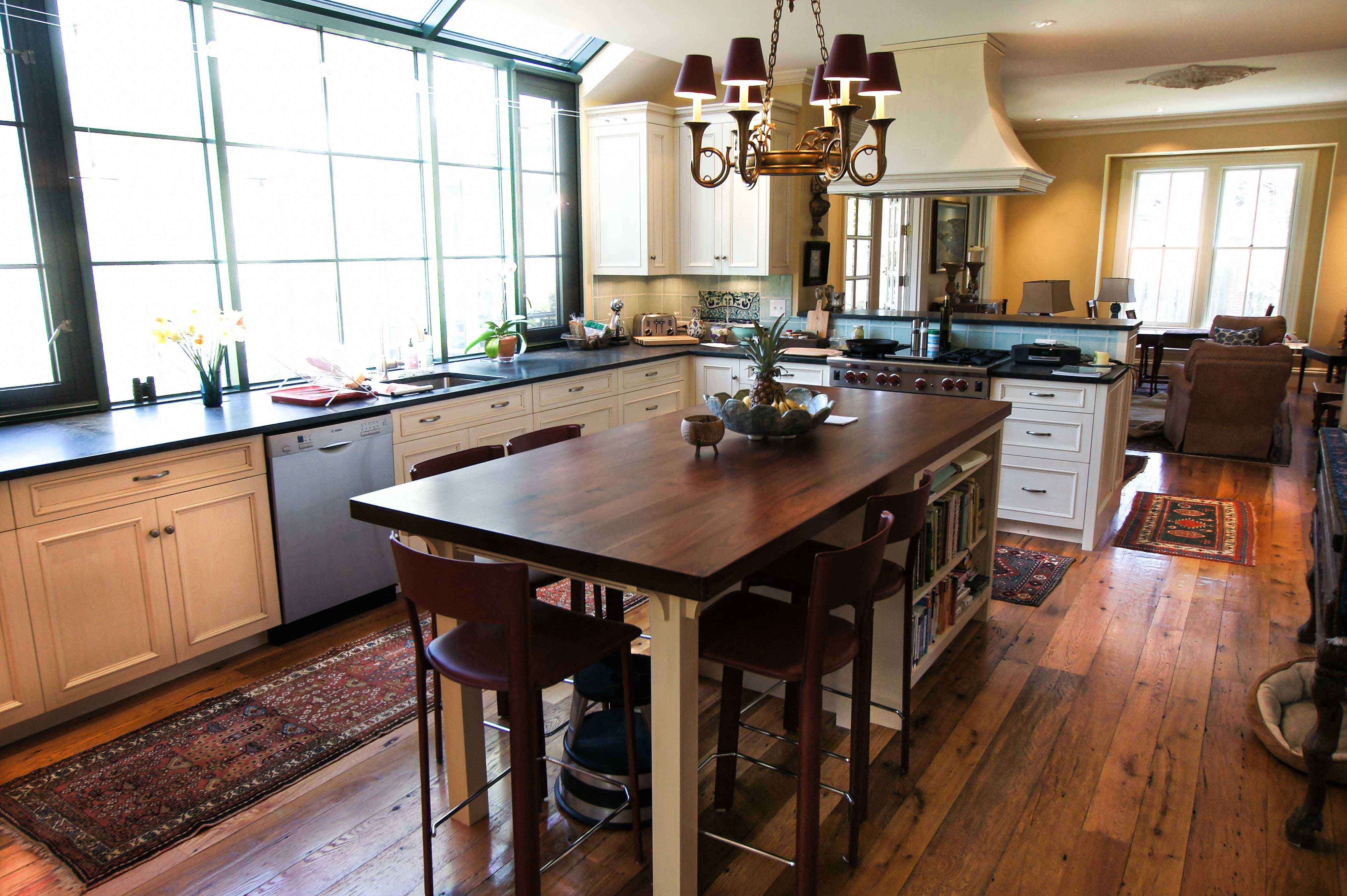 Reclaimed White Oak Flooring Kitchen Jpg 4 068 2 707 Pixels Custom Kitchen Island Kitchen Island And Table Combo Kitchen Island Dining Table